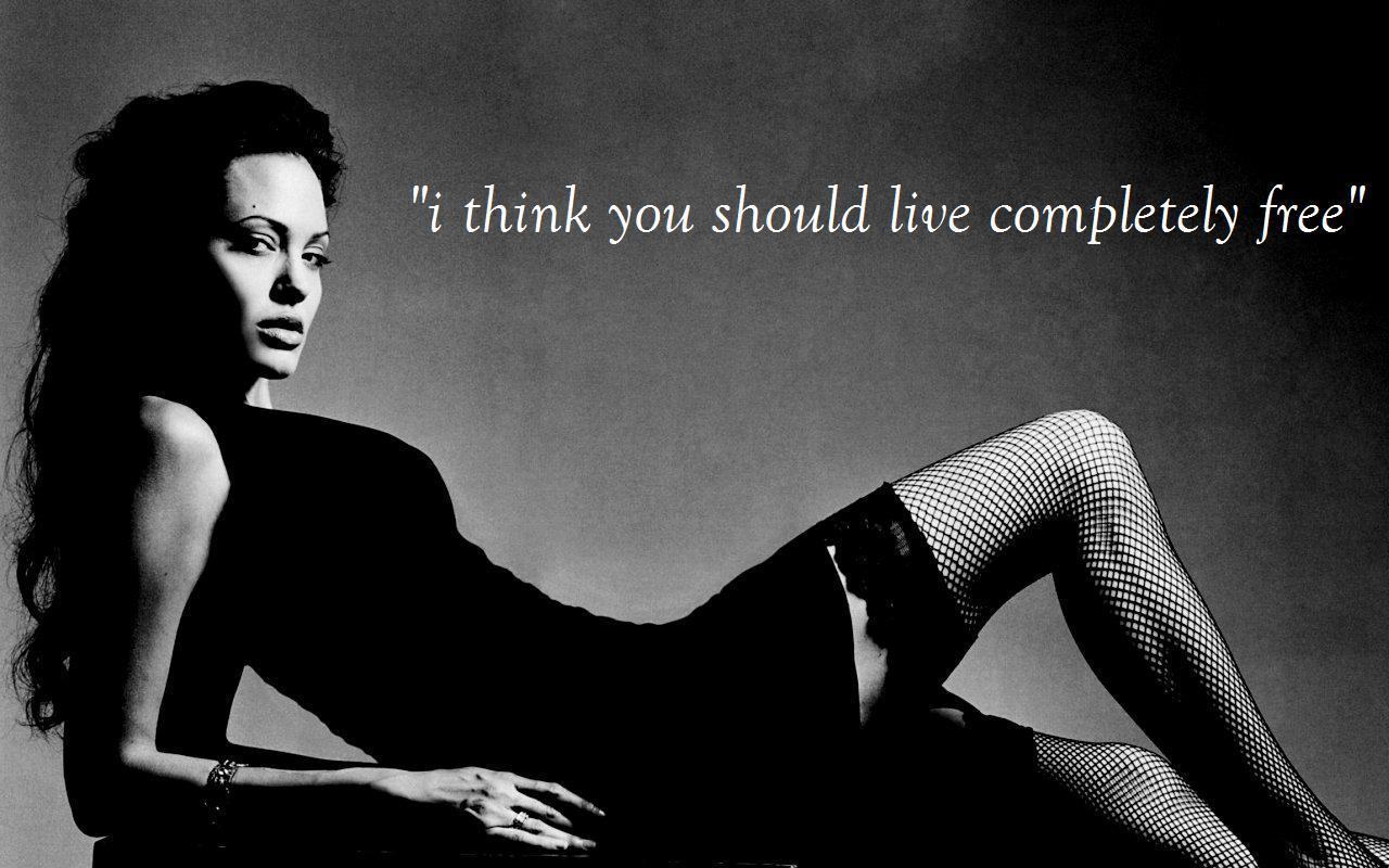 angelina jolie in black dress with inspirational quotes